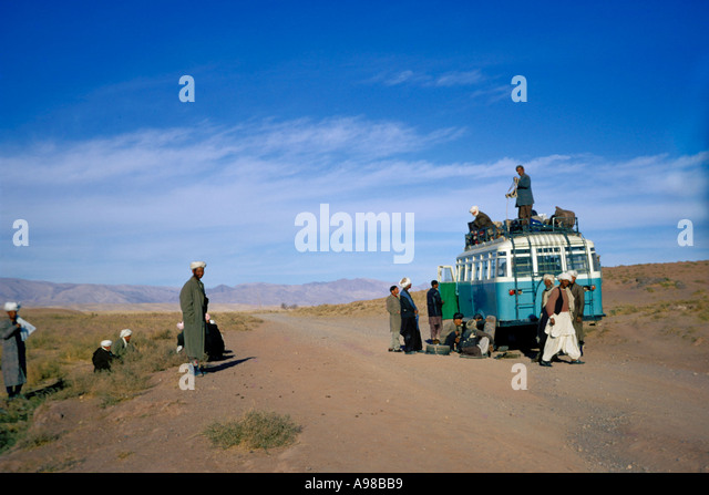 Afghanistan, On the bus from Herat to Mazar i sharif Stock Photo