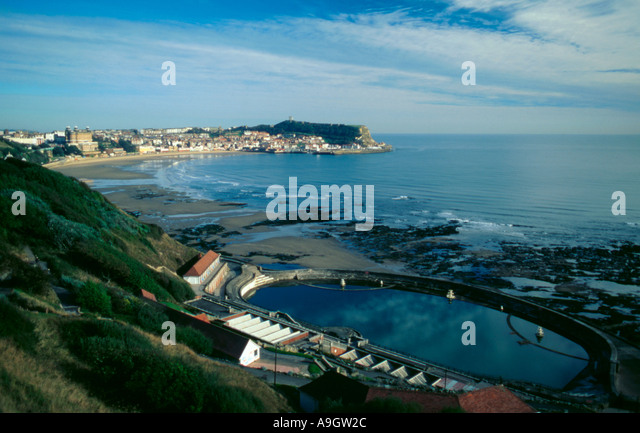 View Over Swimming Pool And South Bay Beach Scarborough North Stock Photo Royalty Free Image