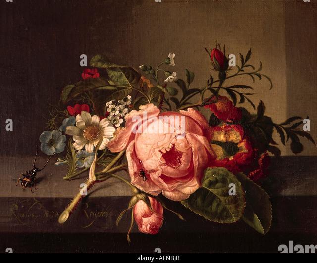 """""""fine arts, Ruysch, Rachel, (1664 - 12.8.1750), painting, """"Rosenzweig mit Käfer und Biene"""", Öffentliche Kunstsammlung, Stock Foto"""