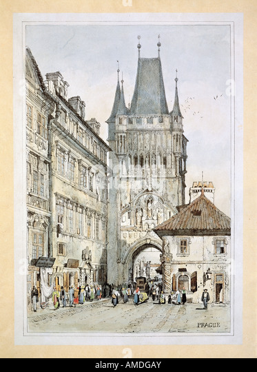 fine arts, Morstadt, Vinzenz (1802 - 1875), views of Prague: Tower of Charles Bridge, colour lithograph, 19th century, Stock Photo