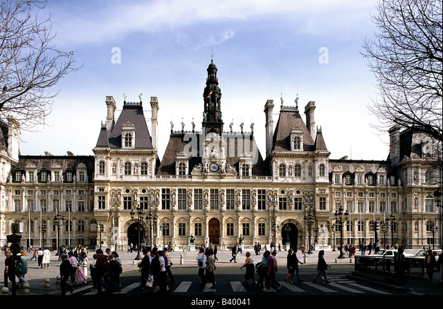 geography travel france paris building hotel de ville city stock photo royalty free. Black Bedroom Furniture Sets. Home Design Ideas