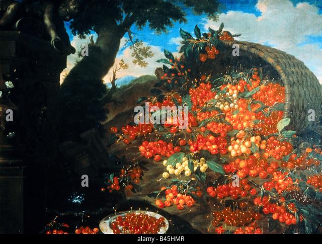 """fine arts, Bimbi, Bartolomeo (1648 - 1730), """"Diverse varieta di ciliegie"""", painting, oil on canvas, Poggio a Caiano, Stock Foto"""