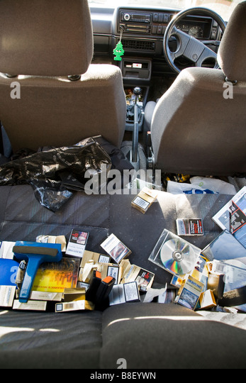 a messy vw golf mk11 car interior full of rubbish including discarded stock photo royalty free. Black Bedroom Furniture Sets. Home Design Ideas