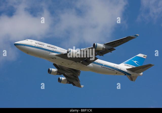 Kuwait Airways Boeing 747-469M departure at London Heathrow Airport, United Kingdom Stock Photo