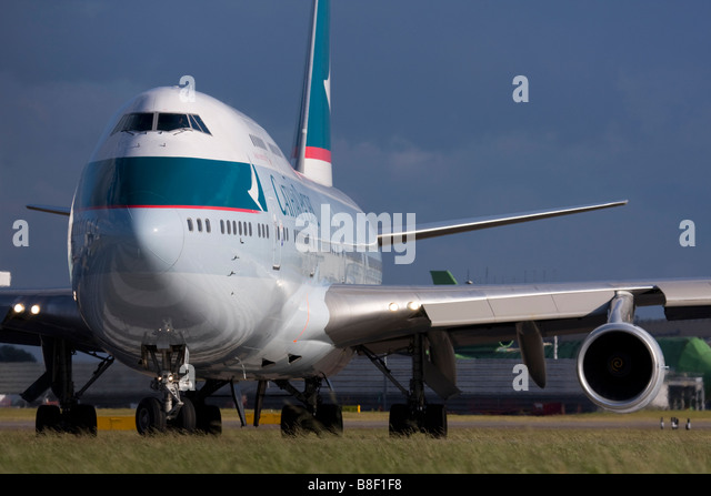 Cathay Pacific Airways Boeing 747-467 taxiing for departure at London Heathrow airport UK Stock Photo