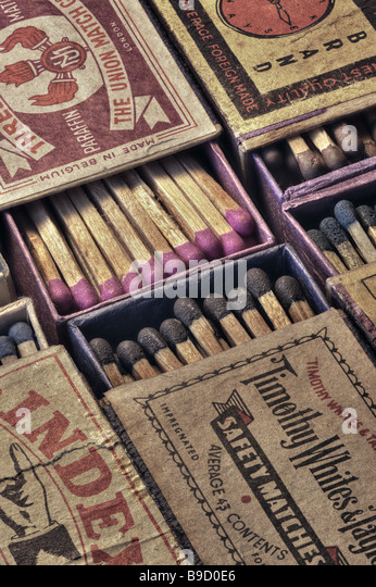 Vintage matchboxes Stock Photo