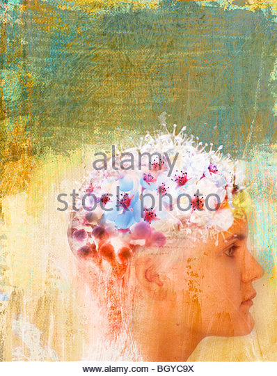 Woman with flowers on head Stock Foto
