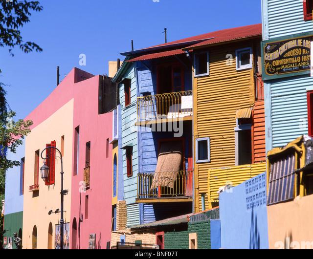 Pastel-coloured buildings, Caminito Street, La Boca, Buenos Aires, Argentina Stock Foto