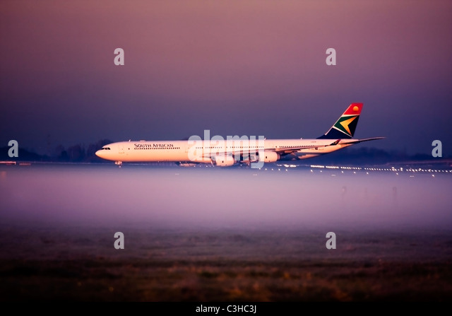 South African Airways Airbus A340-642 at London Heathrow Airport, UK Stock Photo