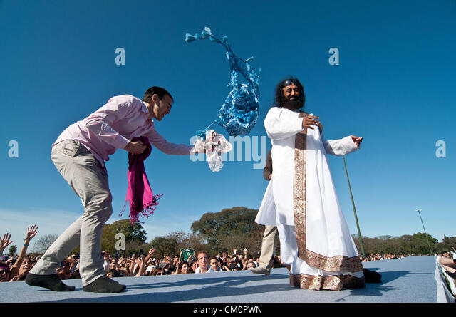 Sept. 9, 2012 - Buenos Aires, Argentina - Indian guru Sri Sri RAVI SHANKAR, leader of the NGO The Art of Living, Stock Foto