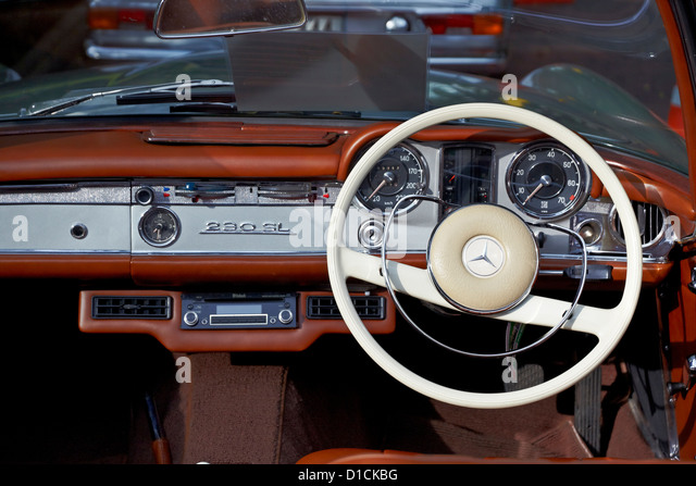 interior view of a vintage mercedes 230 sl motor car stock photo royalty free image 52524404. Black Bedroom Furniture Sets. Home Design Ideas