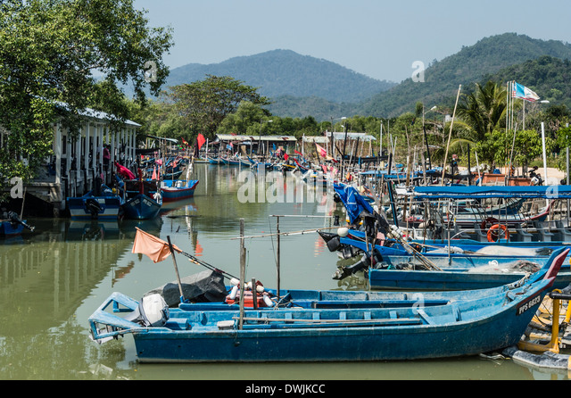 A Chinese fishing fleet in Penang Stock Photo