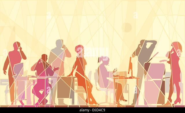 Editable vector colorful mosaic illustration of business people in an office all talking on cellphones Stock-Vektorgrafik