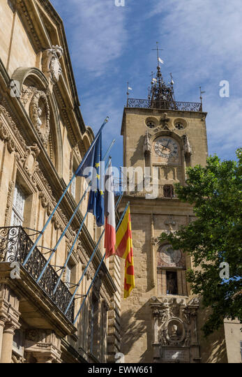 Market Place, Town Hall, Hotel de Ville, Clock Tower, Aix-en-Provence Stock Photo