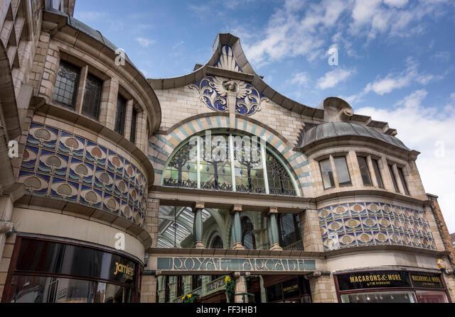 exterior of royal arcade norwich norfolk uk stock photo