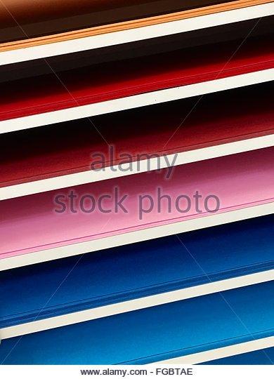 Full Frame Shot Of Colorful Shelf Stock Foto