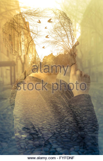 Double exposure image of woman, imagination concept Stock Foto