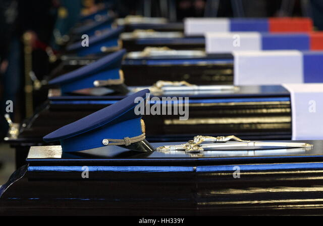 Moscow region, Russia. 16th January 2017. A farewell ceremony for Tupolev Tu-154 plane crash victims at the Federal Stock Foto