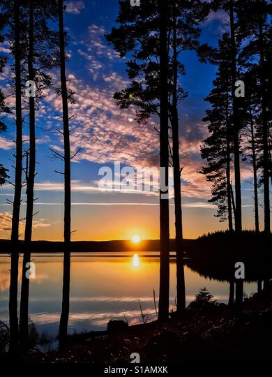 Sunset at Kielder Water and Forest, Northumberland Park, England Stock Foto